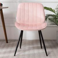 Set of 2 Velvet Leisure Dining Chair, Light Pink