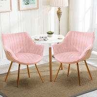 Set of 2 Velvet Leisure Dining Chair, Pink