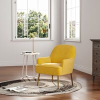 Leisure Velvet Armchair Tub Chair, Yellow