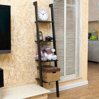 4 Tier Ladder Shelving Display Bookshelf Wall Shelf Storage, Black