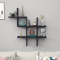 Floating Wall Shelves Display Bookshelf Storage Rack, Black