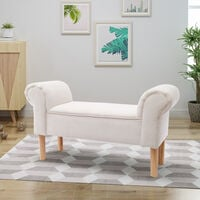 Beige Linen Footstool Window Seat Upholstered Bench