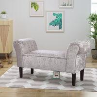 Ice Velvet Footstool Window Seat Upholstered Bench