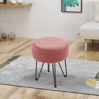 Round Dressing Table Stool Soft Velvet Piano Chair Makeup Seat Wire Legs Pink