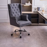 Executive Office Chair Ergonomic High Back Adjustable Computer Chairts Linen Seat 360° Swivel Grey