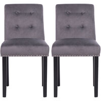 Set of 2 Velvet Buttoned Dining Chairs, Grey