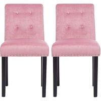Set of 2 Velvet Buttoned Dining Chairs, Pink