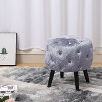 Deep Button Round Stool Vanity Stools Dining Chair Velvet Seat Footstool Silver Grey