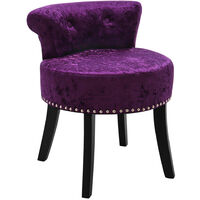 Crush Velvet Vanity Stool Bedroom Makeup Dressing Table Desk Chair Padded Seat Dark Purple