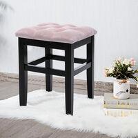 Pink Velvet Padded Chair Makeup Dressing Table Stool Vanity Seat