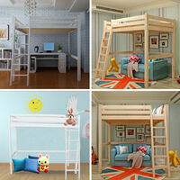 Pine Bunk Bed High Sleeper Solid Pine Wood Frame Slats Childrens Kids Single