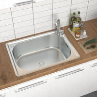 Stainless Steel Kitchen Sink Home Single Bowl With Waste Plumbing Kit