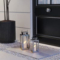 Square Candle Holder Floor Stainless Steel Lantern With Handle, 12x12x28CM