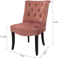Set of 2 Chesterfield Crush Velvet Dining Chairs, Pink