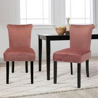 Set of 2 High Back Crush Velvet Dining Chairs, Pink