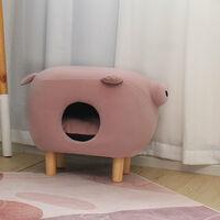 Pet Nest House Stool Sofa Cradle Cat little Dog Home Kennel Sleeping Area,Pink Pig