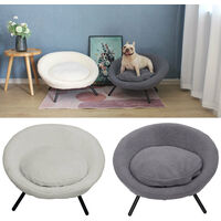 White Pet Bed Cat Kitten Dog Puppy Sofa Couch Hideaway House With Cushion Nest
