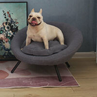 Grey Pet Bed Cat Kitten Dog Puppy Sofa Couch Hideaway House With Cushion Nest