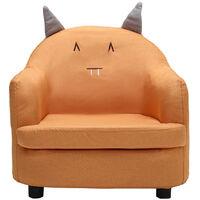 Linen Fabric Kids Children Armchair Cartoon Sofa Tub Chair Thick Padding Seat,Orange