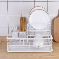 Metal Dish Drying Rack 2 Tier Wire Draining Board with Drip Tray Cutlery Holder White