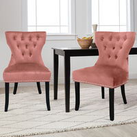 Set of 2 Buttoned Velvet Dining Chairs, Pink