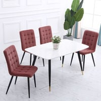 Set of 4 Frosted Velvet High Back Dining Chairs, Smokey Pink