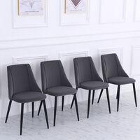 Set of 4 Velvet Dining Chairs, Grey