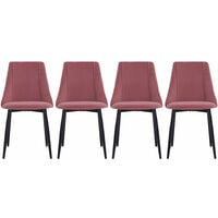 Set of 4 Velvet Dining Chairs, Pink