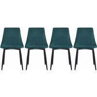 Set of 4 Velvet Dining Chairs, Green