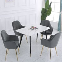 Set of 2 Velvet with Pad Dining Chairs, Grey