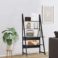 Modern Ladder Storage Display Shelf Computer Desk PC Laptop Study Table Workstation Shelf Rack Black
