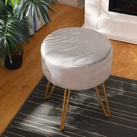 Round Dressing Table Stool Soft Fluffy/Velvet Piano Chair Makeup Seat Wire Legs Grey