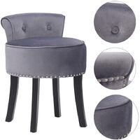 Velvet Dressing Table Chair Vanity Stool Piano Dining Chairs Bedroom Room Grey