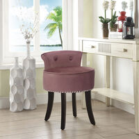 Velvet Dressing Table Chair Vanity Stool Piano Dining Chairs Bedroom Room Pink