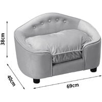Soft Pet Sofa Bed Dog Kitty Puppy Cat Couch Cushion Chair Seat Lounger House Grey
