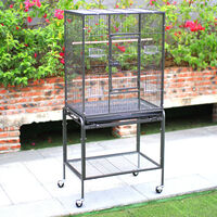Mobile Large Parrot Bird Birdies Cage with Perch Stand Pet House Rolling Metal