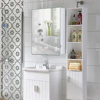 60 LED Illuminated Bathroom Mirror Cabinet with Lights Shaver Socket Demister and Sensor 700x500MM