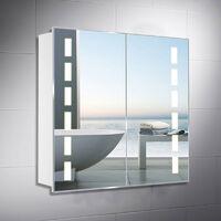 LED Illuminated Bathroom Mirror Cabinet with Lights Shaver Socket Bluetooth Touch Sensor Demister Pad 650x600MM