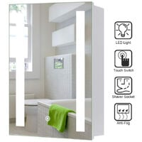 LED Illuminated Bathroom Mirror Cabinet with Lights Touch Switch Demister Pad Shaver Socket, 600x450MM