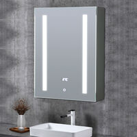 LED Illuminated Bathroom Mirror Cabinet with Touch Switch Shaver Socket Demister Temperature Display 600x450MM