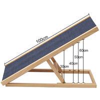 Adjustable Wooden Standing Ladder Dog Cat Pet Ramp Ladder Stair, 100CM