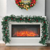 270CM Christmas 50 LED Light Up Xmas Decor Hanging Rattan, Pine Cones