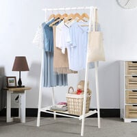 White Wooden Clothes Rail Stand Hanging Rack Storage Shelves, 95x44x149CM