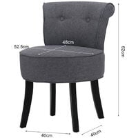Linen Padded Vanity Stool Small Makeup Chair Dressing Table Seat Dark Grey