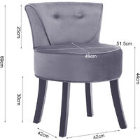Grey Vanity Dressing Table Stool Wooden Leg Makeup Chair Padded Seat Home Furniture