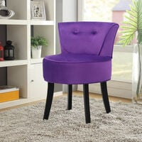 Purple Vanity Dressing Table Stool Wooden Leg Makeup Chair Padded Seat Home Furniture
