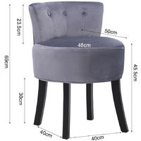 Grey Makeup Vanity Chair Fabric Padded Seat Dressing Table Stool Wooden Legs