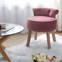 Vanity Dressing Table Stool Velvet Makeup Piano Chair Living Dining Room Bedroom Seat Pink