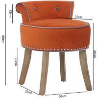 Vanity Dressing Table Stool Velvet Makeup Piano Chair Living Dining Room Bedroom Seat Orange
