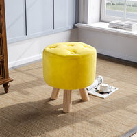 Yellow Upholstered Round Stool Thickened Padded Seat Footstool Pouffe Chair Wood Legs